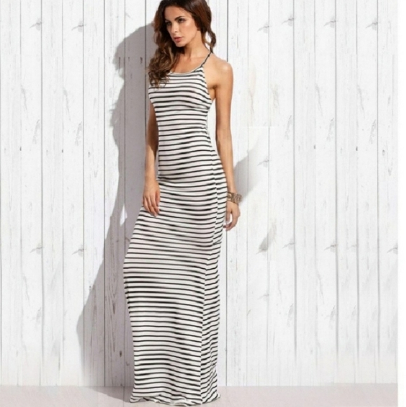 Bluewinkz Dresses & Skirts - Sexy Black and White Stripe Maxi Dress